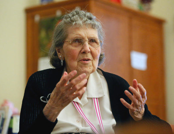 Florence Jordahl talks about her life from her room at Bethany on 42nd in south Fargo. David Samson / The Forum